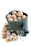 linen bag with whole ripe walnuts