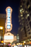 Theater Marquee Lights on Broadway Bokeh Background