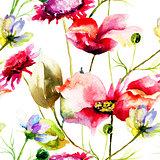 Stylized wild flowers