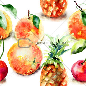 Watercolor illustration of tropical fruits