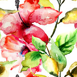 Seamess pattern with Beautiful Lily flower
