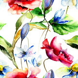 Watercolor illustration with flowers