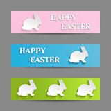 Easter Banners Set with White Rabbit Bunny