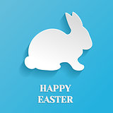 Happy Easter Illustration - White Rabbit Bunny on Blue Background