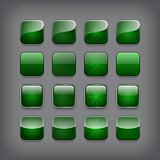 Set of blank green buttons for you design or app.