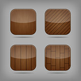 Vector glossy wooden app buttons set