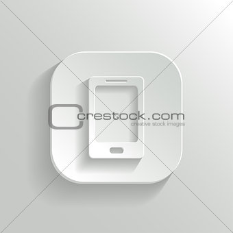 Smartphone icon - vector white app button with shadow