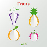Set of fruits - creative paper icons
