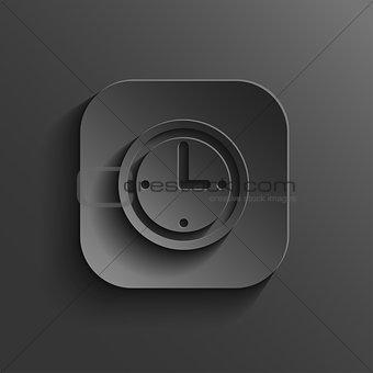 Clock icon - vector black app button with shadow