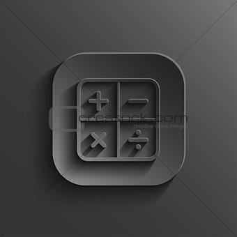 Calculator icon - vector black app button with shadow