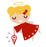 Adorable angel girl with Xmas decoration ( red )