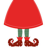 Cute christmas elf legs with skirt isolated on white