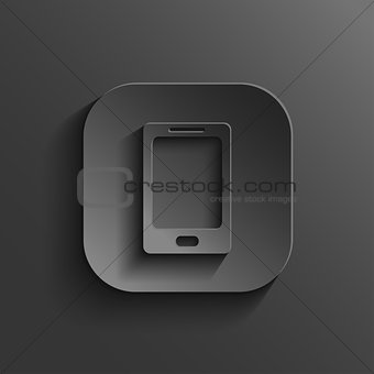 Smartphone icon - vector black app button with shadow