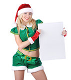 Young blond girl wearing santa claus clothes