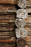 Ancient wooden wall - logs close up