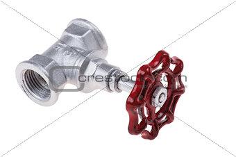 chrome brass valve on white