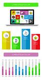 Ui, infographics and web elements including flat design. Vector illustration.