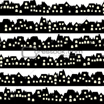 Background with black doodle houses