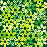 Seamless pattern with green dotted flowers