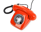 classic red dial phone