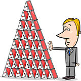 businessman and house of cards cartoon