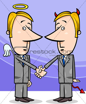 angel and devil businessmen cartoon