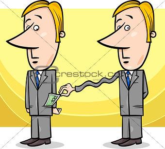 businessman and taxes cartoon