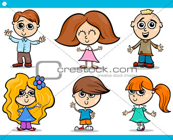 cute little children cartoon set