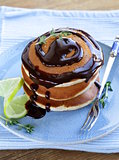 homemade pancakes with chocolate