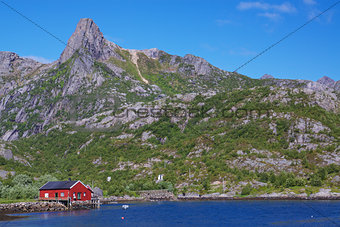 Fishing hut in fjord