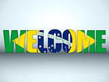 Brazil Flag Welcome Soccer Letters Background