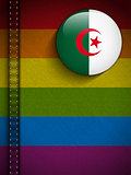 Gay Flag Button on Jeans Fabric Texture Algeria