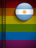 Gay Flag Button on Jeans Fabric Texture Argentina