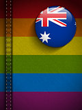 Gay Flag Button on Jeans Fabric Texture Australia