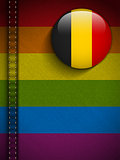 Gay Flag Button on Jeans Fabric Texture Belgium