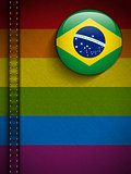 Gay Flag Button on Jeans Fabric Texture Brazil