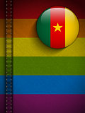 Gay Flag Button on Jeans Fabric Texture Cameroon