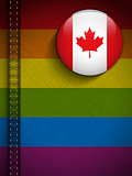 Gay Flag Button on Jeans Fabric Texture Canada