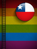Gay Flag Button on Jeans Fabric Texture Chile