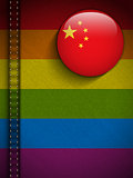 Gay Flag Button on Jeans Fabric Texture China
