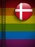 Gay Flag Button on Jeans Fabric Texture Denmark