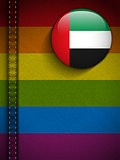 Gay Flag Button on Jeans Fabric Texture Emirates