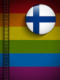 Gay Flag Button on Jeans Fabric Texture Finland