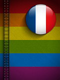 Gay Flag Button on Jeans Fabric Texture France