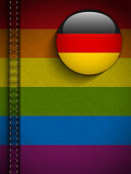 Gay Flag Button on Jeans Fabric Texture Germany