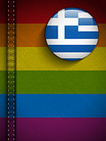 Gay Flag Button on Jeans Fabric Texture Greece