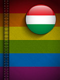 Gay Flag Button on Jeans Fabric Texture Hungary