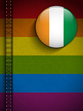 Gay Flag Button on Jeans Fabric Texture Ireland