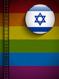 Gay Flag Button on Jeans Fabric Texture Israel