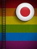 Gay Flag Button on Jeans Fabric Texture Japan